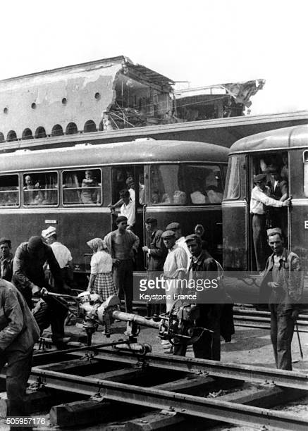 People Waiting To Take A Train In The Destroyed Station Of Skopje After The Powerful Earthquake Of July 26 in Skopje Yougoslavia on August 1 1963