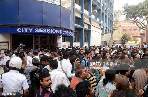 People waiting with bated breath for the verdict of the Kamduni gangrape case outside the City Sessions Court on January 30 2016 in Kolkata India A...