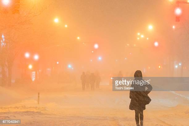 people walk 2nd ave. during snowstorm jonas. - east village stock pictures, royalty-free photos & images