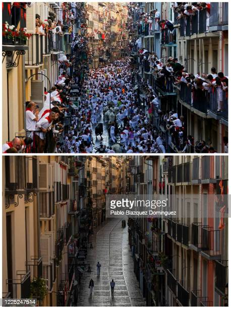 In this beforeandafter composite image **TOP IMAGE** PAMPLONA SPAIN JULY 07 Revellers run with Fuente Ymbro's fighting bulls along Estafeta Street...