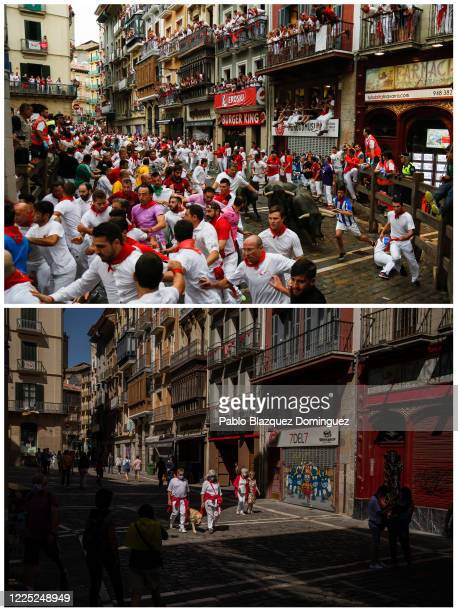 In this beforeandafter composite image **TOP IMAGE** PAMPLONA SPAIN JULY 08 Revellers run with Jose Escolar Gil's fighting bulls at Curva Estafeta...