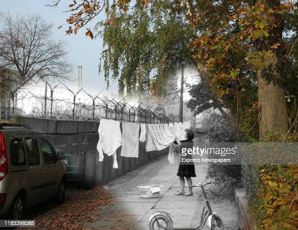This digital composite image shows Leuschnerdamm street in Berlin in 1963 and on October 23 2019 BERLIN GERMANY OCTOBER 23 People walk along...