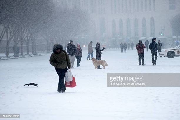 People walk along Pennsylvania Avenue during a snow storm in Washington on January 22 2016 Thousands of flights were cancelled and supermarket...