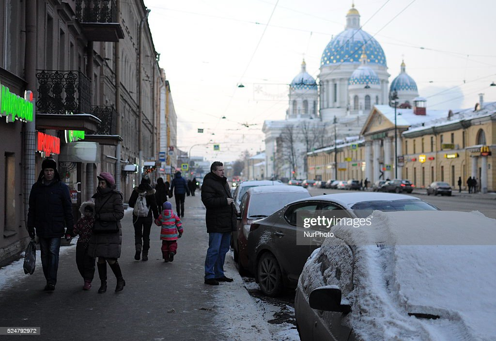 Russia weather pictures getty images people walk along the avenue with views of the trinity cathedral in st petersburg publicscrutiny Gallery