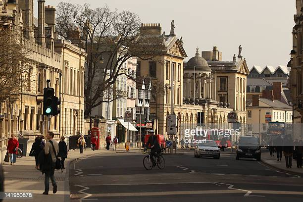 People walk along the High Street in Oxford city centre on March 22 2012 in Oxford England