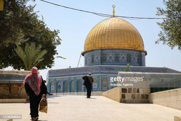 People walk around Kubbet'us-Sahra at Al-Aqsa Mosque Compound in East Jerusalemâs Old City on September 06, 2020.