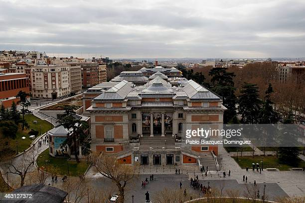 People walk around The Prado Museum on February 10 2015 in Madrid Spain The Prado Museum is running an exhibition called 'Hoy toca el Prado' which...