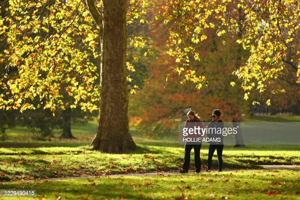 People walk beneath the autumn colours in Green Park in London on November 6 as the second lockdown comes into force in England. - A united effort to...