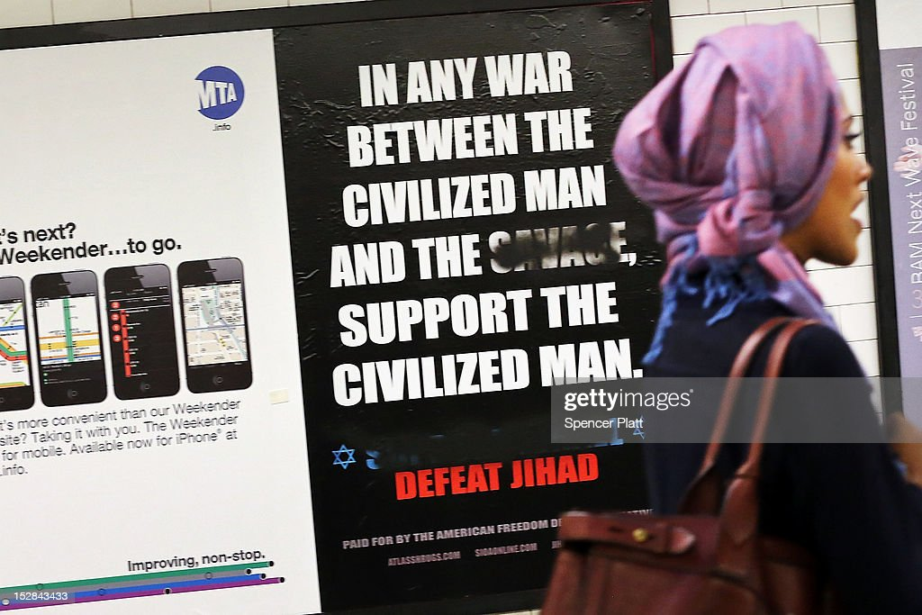 Controversial Anti-Muslim Ad Appears In New York Subway Stations : News Photo