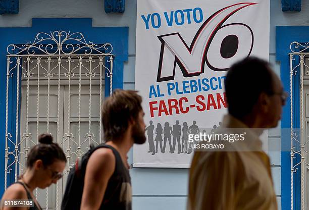 'I vote for NO in the FARCSantos plebiscite' in the upcoming referendum on the peace agreement in Cali Colombia on September 30 2016 Colombians vote...
