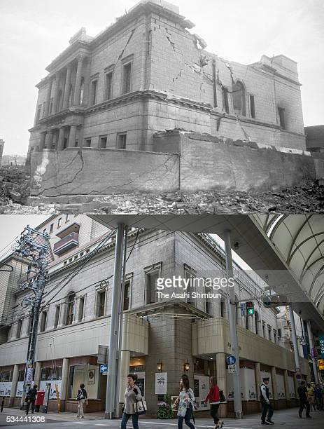 This digital composite shows the building right after the atomic bombing as the Teikoku Bank in August 1945 and as bakery Andersen on May 26 2016 in...