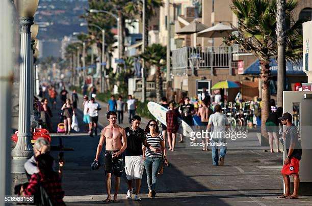 People walk by on the boardwalk along Mission Beach in San Diego CA on Monday October 27 2014