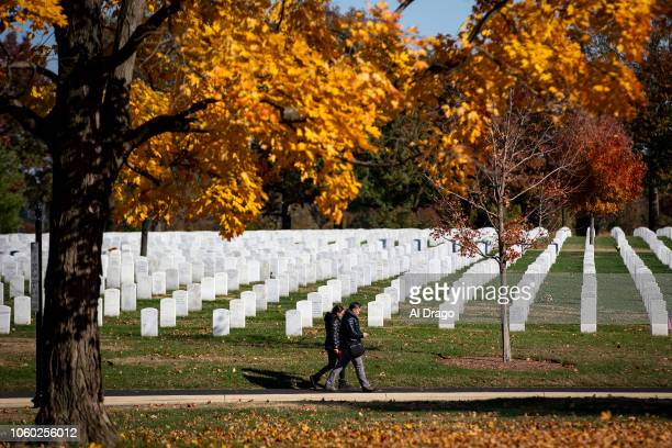 People walk by theadstones at Arlington National Cemetery on November 11 2018 in Arlington Virginia