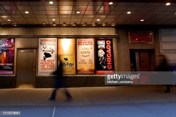 People walk down Shubert Alley in the Broadway theater district on March 12, 2020 in New York City. As the coronavirus continues to spread in the...
