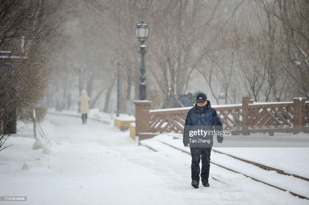 CHN: Snowstorm Hits Harbin