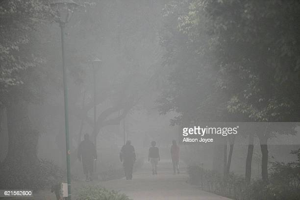 People walk in a park amid heavy dust and smog November 7 2016 in Delhi India People in India's capital city are struggling with heavily polluted air...