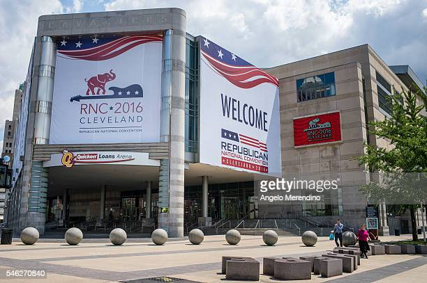People walk in front of Quicken Loans Arena on July 11 2016 in Cleveland Ohio The 2016 Republican National Convention will be held at the Quicken...
