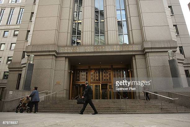 People walk in front of the Daniel Patrick Moynihan US Courthouse where the United States Court of Appeals for the Second Circuit resides on May 26...