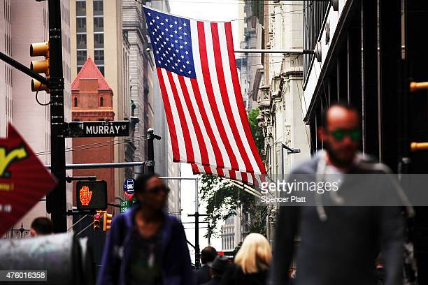 People walk in lower Manhattan on June 5 2015 in New York City New numbers which were released by the government today showed that the US economy...