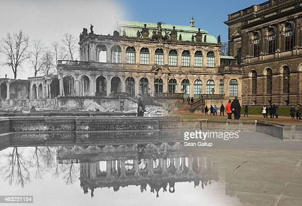 This digital composite image shows a portion of the Zwinger art museum in 1946 still in ruins from the Allied firebombing of February 13 1945 and on...