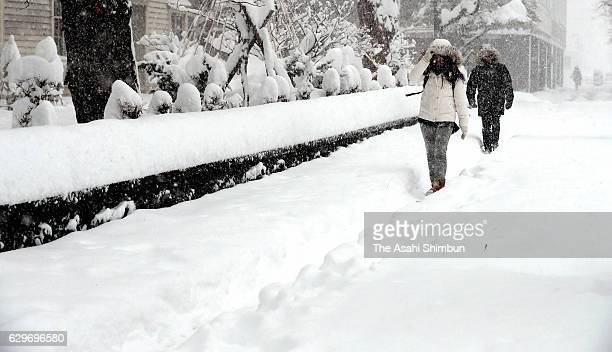 People walk in the heavy snow on December 10 2016 in Sapporo Hokkaido Japan 65 centimetres of snowfall was recorded in central Sapporo