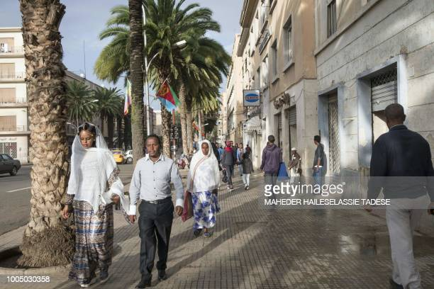 People walk in the streets of the Eritrean capital Asmara on July 21 2018 Located at over 2000 metres above sea level the capital of Eritrea...