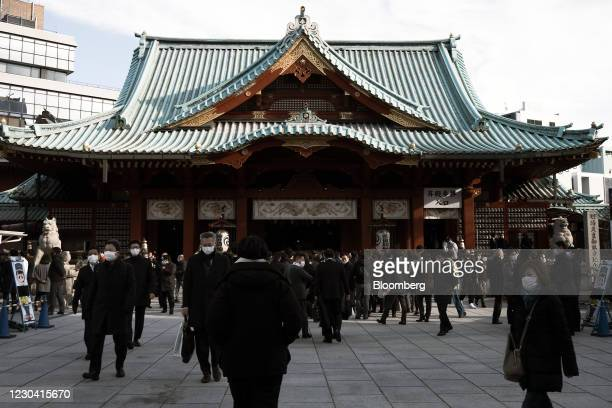 People walk inside the Kanda Myojin shrine on the first business day of the year in Tokyo, Japan, on Monday,Jan. 4, 2021. Japanese stocks declined on...