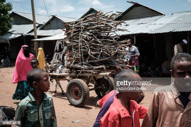 People walk next to a donkey pulling a cart loaded with firewood at the Dadaab refugee complex, northeastern Kenya, on April 18, 2018. The Dadaab...