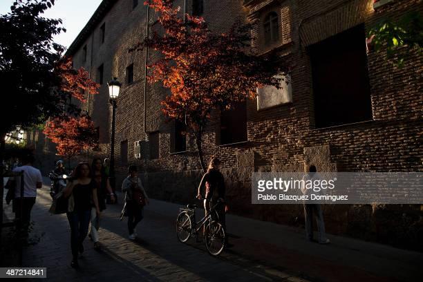 People walk next to the Convento de las Trinitarias Descalzas on April 28 2014 in Madrid Spain The author of 'Don Quijote de la Mancha' Miguel de...