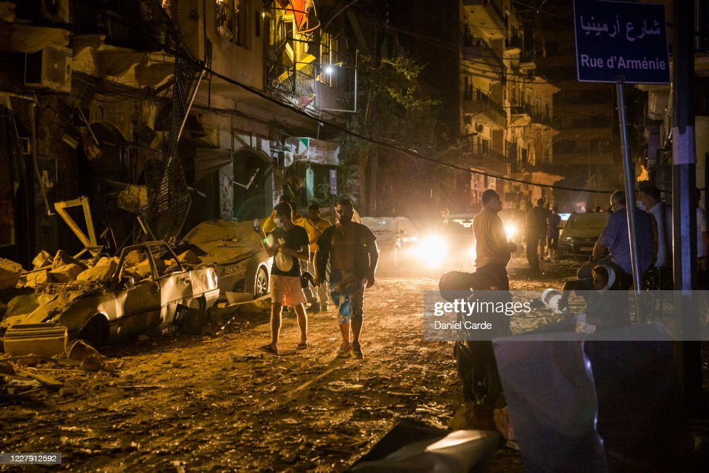 Massive Explosion Near Port Area Of Beirut : News Photo