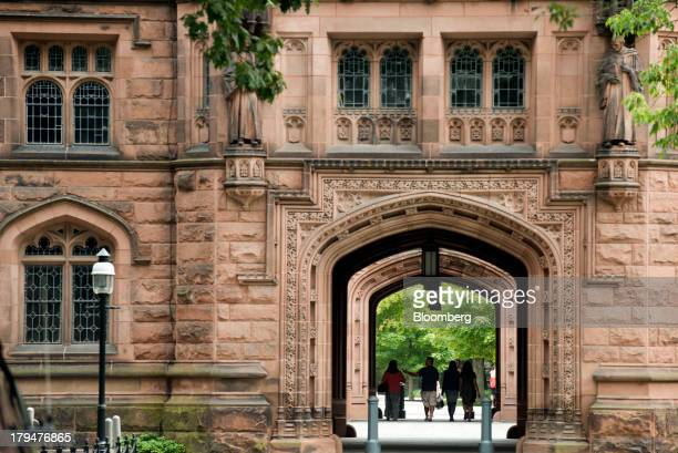 People walk on Princeton University campus in Princeton New Jersey US on Friday Aug 30 2013 Residents in Princeton New Jersey have sued the...