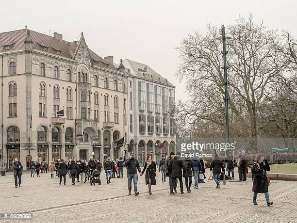 People walk on the city centre on February 6 2016 in Malmo Sweden Last year Sweden received 162877 asylum applications more than any European country...