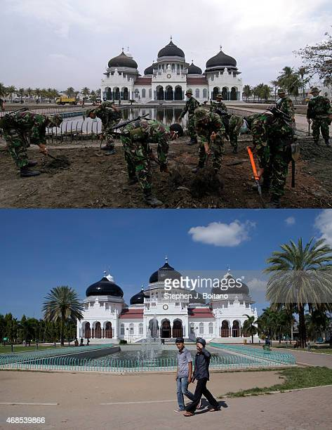 In this composite image a comparison has been made between a scene in 2005 and 2014 BANDA ACEH INDONESIA DECEMBER 12 People walk on the grounds of...