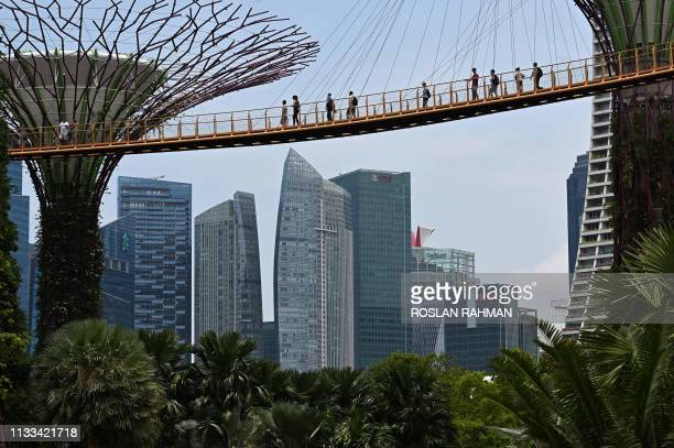 People walk on the 'skyway' at the Gardens by the Bay in Singapore on March 29 2019