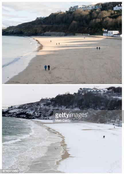 In this composite image a comparison has been made before and after snowfall in Cornwall in the timeline of one week ST IVES ENGLAND FEBRUARY 28...