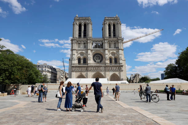 FRA: Paris Reopens Square At Notre-Dame Cathedral A Year After Fire