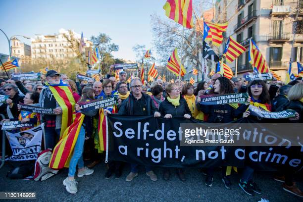 People walk on the streets during a protest against the Proindependence leaders trial on February 16 2019 in Barcelona Spain The 12 Catalan accused...