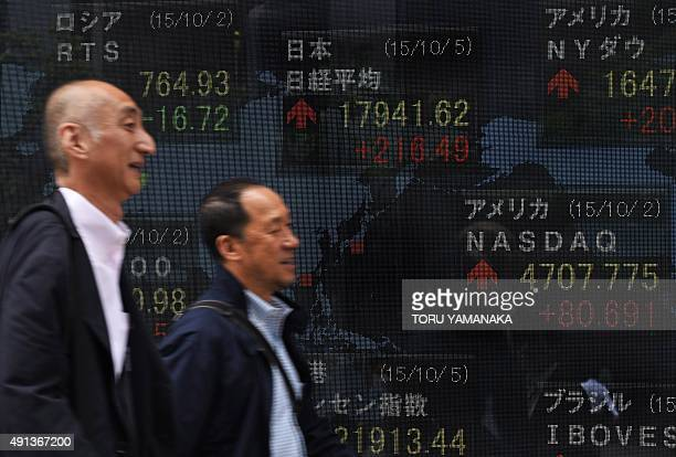 People walk past a board flashing key indexes of stock exchanges in the world in front of a securities company in Tokyo on October 5 2015 Tokyo...