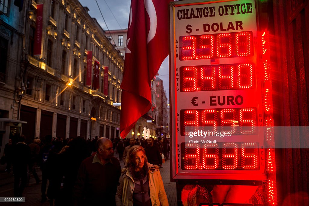 Turkish Lira Continues To Fall As EU Suspends Turkey's Membership Talks : News Photo
