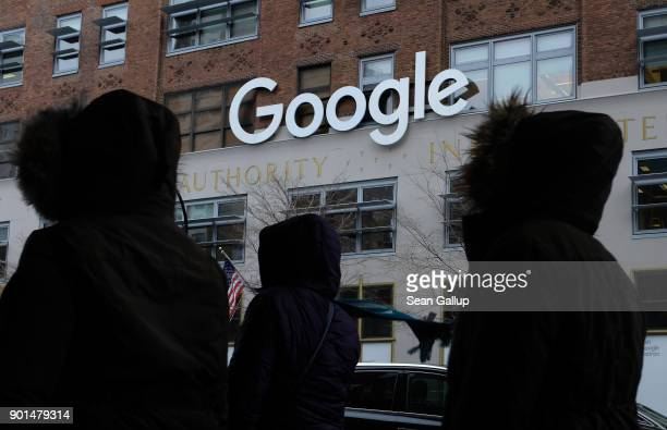 People walk past a Google office building on 9th Avenue in Chelsea district on December 30 2017 in New York City The building known officially by its...