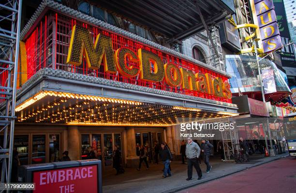 People walk past a McDonald's Restaurant following the firing of their CEO Steve Easterbrook on November 4 2019 in New York City Easterbrook stated...