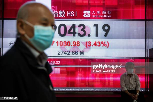People walk past an electronic display showing the Hang Seng Index in the Central district of Hong Kong on February 26, 2021.