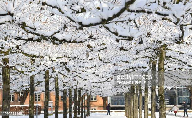People walk past snow covered trees in Offenburg, southern Germany on January 15, 2021.