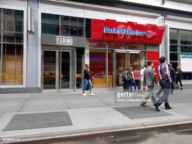 People walk past the Bank of America branch near Penn Station in Times Square New York City New York September 15 2017