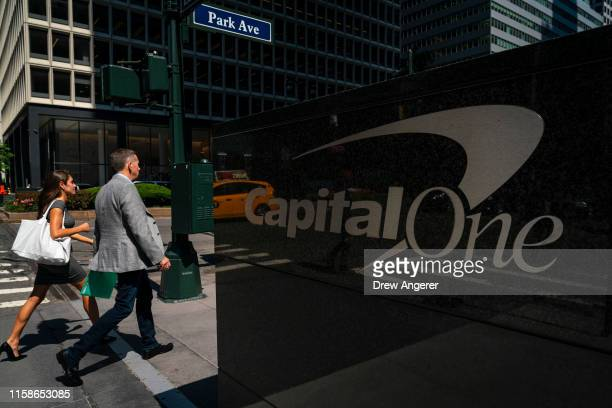 People walk past the Capital One offices in Midtown Manhattan on July 30 2019 in New York City In one of the largestever thefts of bank data a...