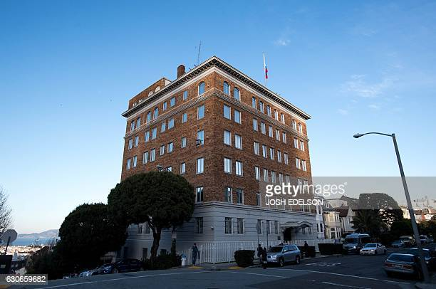 People walk past the ConsulateGeneral of Russia in San Francisco California on December 29 2016 President Barack Obama unleashed a barrage of...
