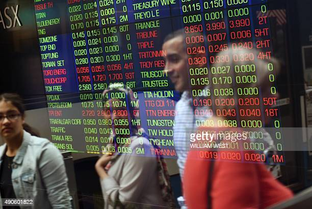 People walk past the display at the Australian Securities Exchange in Sydney on September 30 2015 The benchmark SP/ASX200 index rose 210 percent or...