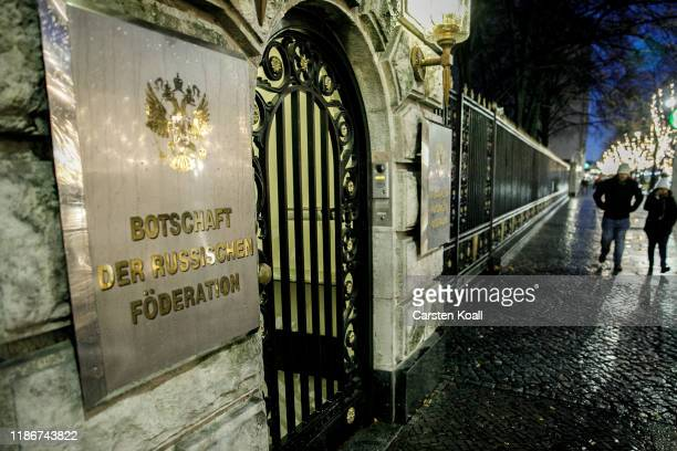 People walk past The entrance to the Russian Embassy on December 6, 2019 in Berlin, Germany. A growing diplomatic row has broken between Germany and...