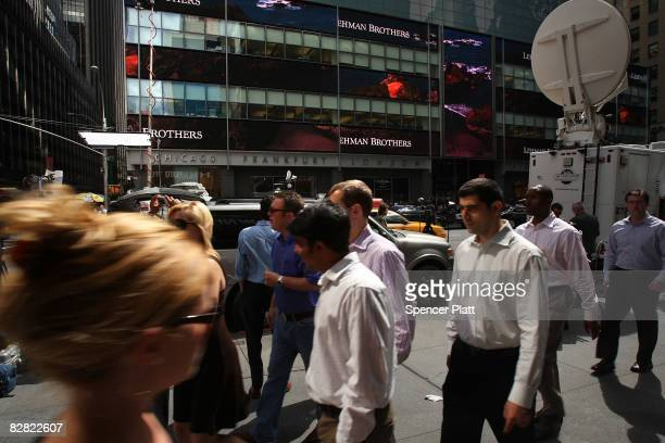 People walk past the Lehman Brothers building September 15 2008 in New York City Lehman Brothers filed a Chapter 11 bankruptcy petition in US...