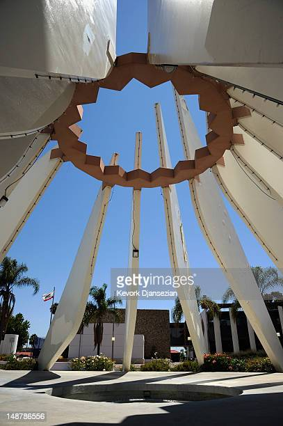 People walk past the Martin Luther King Memorial at the Compton Civic Center in the Compton Civic Center on July 19 2012 in Compton California The...